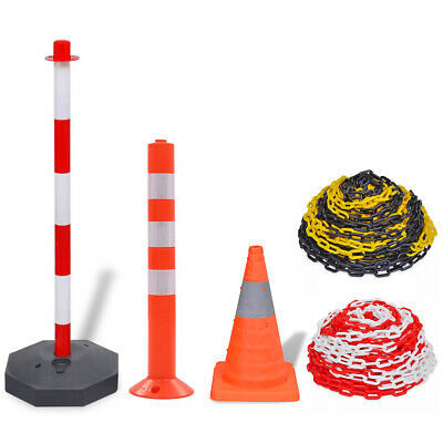 Plastic Chain Bollards Post Traffic Cones Guard Security Warning Sign Barrier