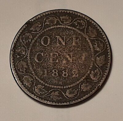 1882-H Canada Large One Cent Coin (95% Copper) - Queen Victoria