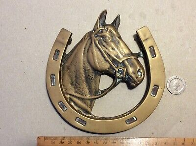 Vintage Solid Brass  Horse Head/Horseshoe Door Knocker  13 Cm Wide.