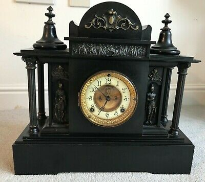 Ansonia antique black mantle clock, 1881, wind up, chime. v good condition