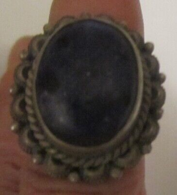 Antique 100 Year Sterling Old Lapis Lazuli Ring W/Rope Rope All Around Size: 7