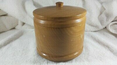 Vintage wooden turned jar with lid. Needs a rub down and rewax, Free postage UK.