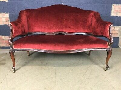 Antique 19 th century  English upholstered mahogany day settee
