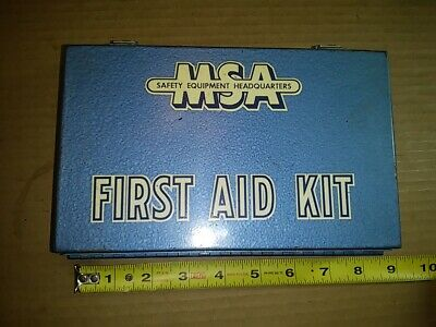VINTAGE MSA MINE SAFETY APPLIANCES COMPANY FIRST AID KIT 10 unit Blue Metal Box