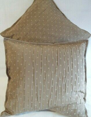 Pair Of Extra Large 22 Inch  Cushions Plain Coffee With Beige