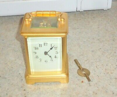 Antique BRASS French Carriage clock WITH KEY NO RESERVE