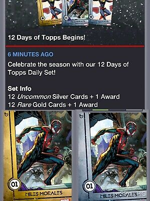 Topps Marvel Collect Card Trader 12 Days Of Silver + Gold Day 1 Spider-Man