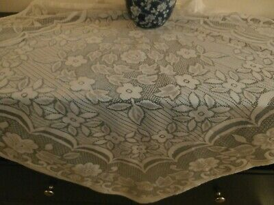 """VINTAGE STYLE IVORY POLYESTER LACE SQUARE TABLECLOTH ~ 36"""" Square FLORAL"""
