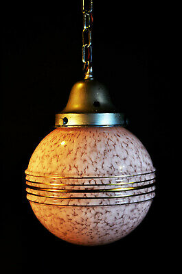 Vintage 1940s art deco antique marbled cased glass & chrome plate pendant light