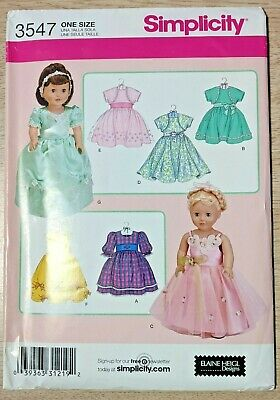 """Reduced Simplicity 3547 18/"""" Doll Prom Clothing Pattern"""
