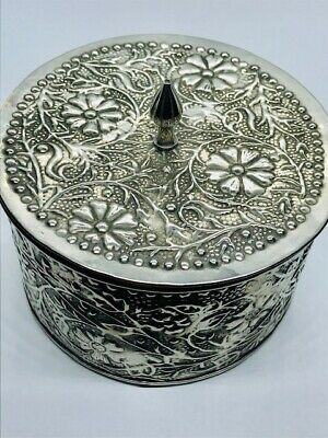 Antique White Metal/Pewter Repousse Arts and Crafts Casket