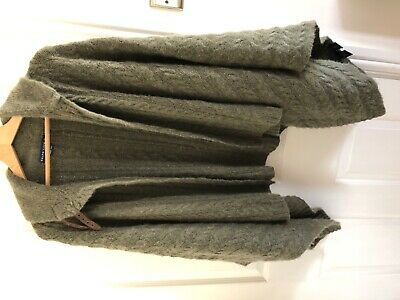 Ralph Lauren vintage hand knit olive green cable wool/cashmere cape/poncho