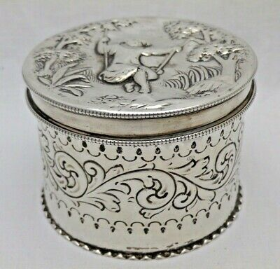 Georgian Antique Solid Silver Cylindrical Box Pictorial Lid 1799 (1255-9-YOS)