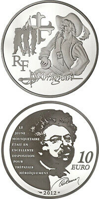 2012 France, 10 Euro Silver Proof Coin - D'Artagnan - 3 Musketeers