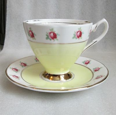 Vintage SANDRINGHAM China ENGLAND TEA CUP & SAUCER YELLOW w ROSE BANDED!
