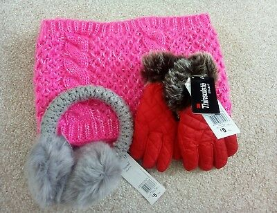 NEW Girls winter accessories mixed bundle, snood scarf, gloves, ear muffs 4-8 y