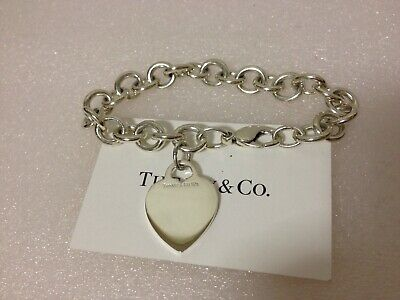 Tiffany & Co. Sterling Silver Heart Tag Charm Bracelet 7.5""