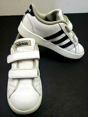 Adidas VL Court 2.0 Kids Shoes Size 10K White/Black 3 Stripe Toddler Sneakers