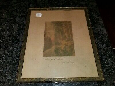 SIGNED WALLACE NUTTING HAND TINTED PHOTOGRAPH Print New England Birches