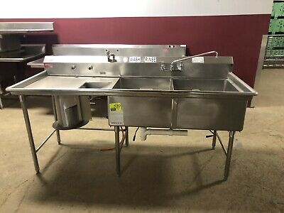 86 Stainless Steel Two 2 Bowl Prep Sink 1 Drain Board Vegetable W Disposal Hole