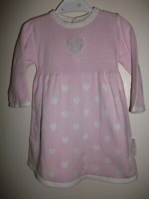 Nursery Time Baby Girls Pink & White Long Sleeved Knit Dress - Age 0-3 Months