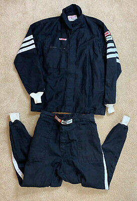 VTG Simpson Racing Jacket And Pants Fire Resitant Gear Black White Large