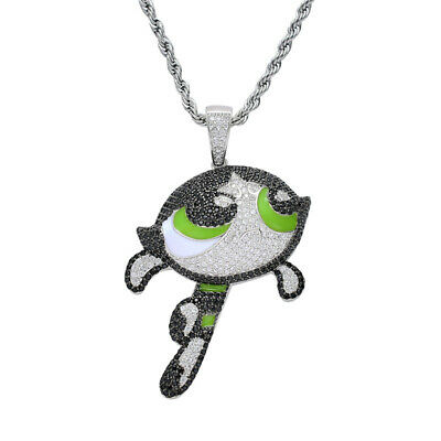 Mens Bling Flying Ghost Boo Diddley Hip Hop Mario Ghost Micro Pave Chain Pendant