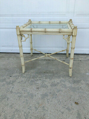 Mid Century Faux Bamboo Fret Work Side Table