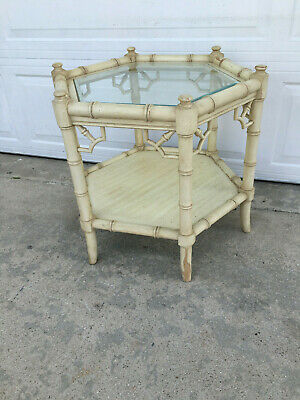 Mid Century Hexagon Faux Bamboo Fret Work Side Table