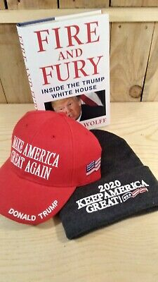 Donald Trump Red MAGA Hat Fire Fury Hard Cover Book 2020 Keep America Great Cap
