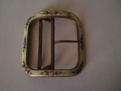 Antique 1920s pink green blue yellow floral painted enamel on brass buckle