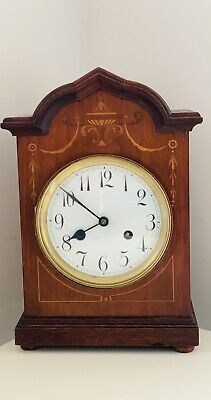Antique Mahogany Inlaid 8 Day Mantle Clock. Dated C.1880