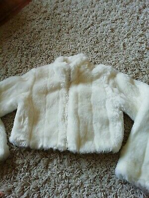 Girls Faux Fur cropped Jacket Zip Front Age 11/12 Yrs