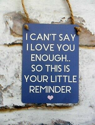 I CAN/'T SAY I LOVE YOU ENOUGH THIS IS YOUR REMINDER Sign Metal Plaque MINI
