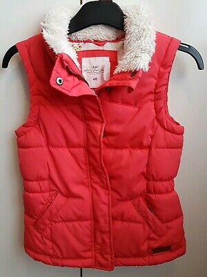 H&M Girls Red Quilted Gilet.Age 10-11.Padded Bodywarmer.Fur Trimmed Collar.
