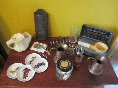 Mixed Job Lot of Vintage Items S/Plate Toast Rack Car Coasters Glass Posy Vase