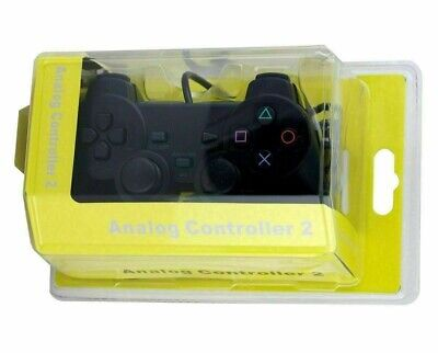 NEW WIred Black Dual Shock Controller for PS2 PlayStation Joypad Gamepad+BOX UK