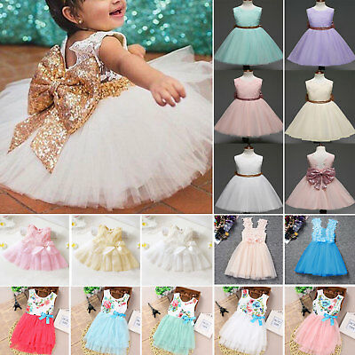 Toddler Kids Girls Big Sequins Bow Tulle Tutu Dress Wedding Pageant Party Dress