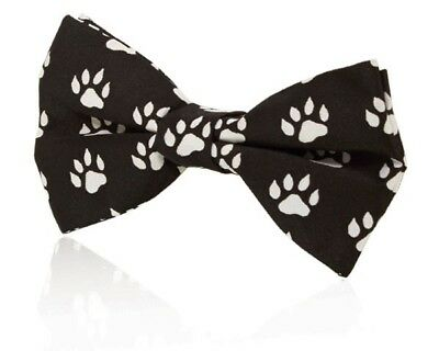 Paw Print Bow Tie Black and White - New