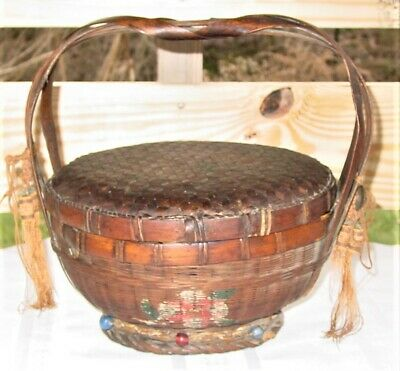 Antique Chinese Sewing Basket With Lid, Braided Handle, Beads, Tassels & Flowers