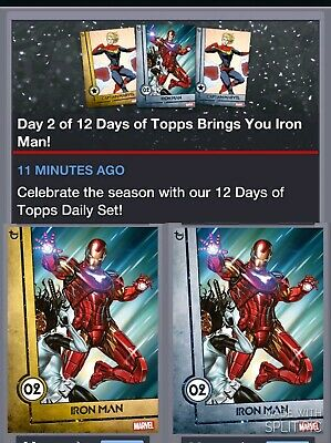 Topps Marvel Collect Card Trader 12 Days Of Silver + Gold Day 1 Iron Man 12/15