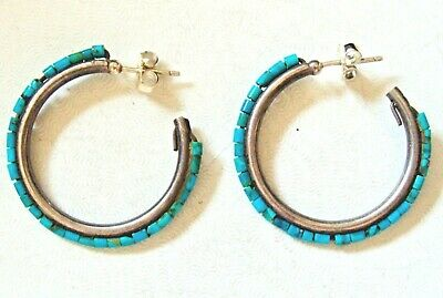 Zuni Indian Jewelry Sterling Silver Turquoise Inlay Mini Hoop Earrings by Chopit