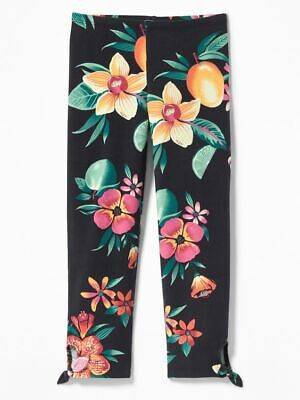 Nwt Girls Old Navy Capri Leggings Floral Size 8 Summer Spring Size M Black Tie