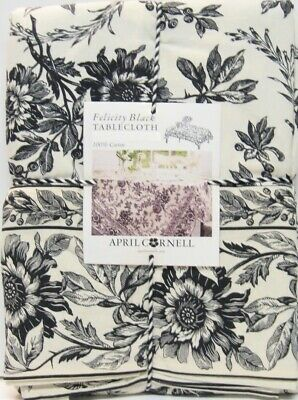 April Cornell Border Print Tablecloth Felicity Floral Toile Black 60 x 104 NEW