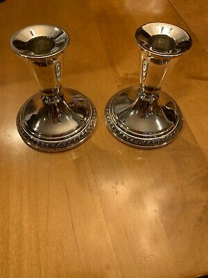 Vintage National Sterling Weighted Candle Stick Holders Pat.No. 2646954