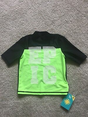 NEW Childs Swimwear Sun Protection UV40+ Top Age 3 in Fluorescent Green & Black