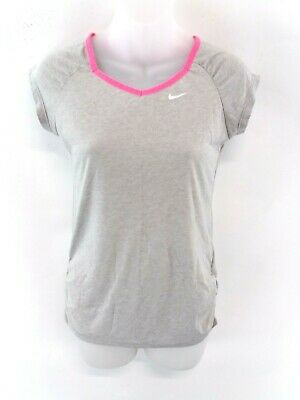NIKE Girls T Shirt Top 10-12 Years M Medium Grey Polyester & Cotton