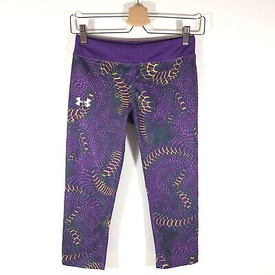 Under Armour HeatGear Fitted Capri Leggings Printed Purple Girls Large L