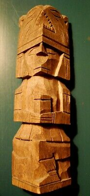 Bear/Man Vintage NATIVE AMERICAN TOTEM POLE Hand Made Carved Wood Signed 10""