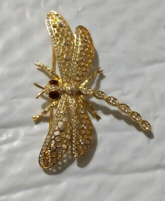 1999 Ps Co. Goldtone Filigree And Crystal Dragonfly Brooch
